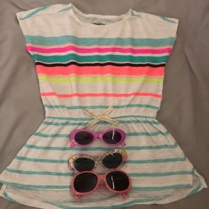 Other - 3 for $15🌼 girls top with 3 pairs of  sunglasses